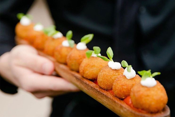 Arancini Bite with Chunky Tomato Sauce